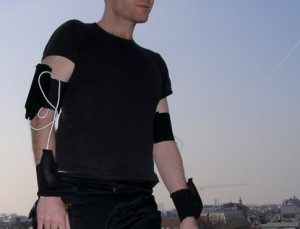 W_space: the fully wearable Wiimote audio controller.  Photo Courtesy Tom Tlalim