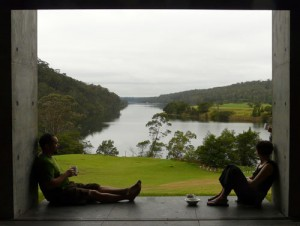 George and Lizzie enjoying the view from the workshop space at the Bundanon Trust Boyd Education Centre, Riversdale.